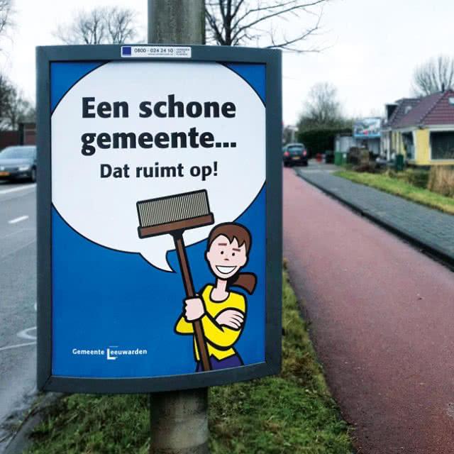 Een schone gemeente campagne rondwegborden