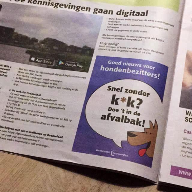 Hondenpoep Campagne Huis-aan-Huis Advertentie