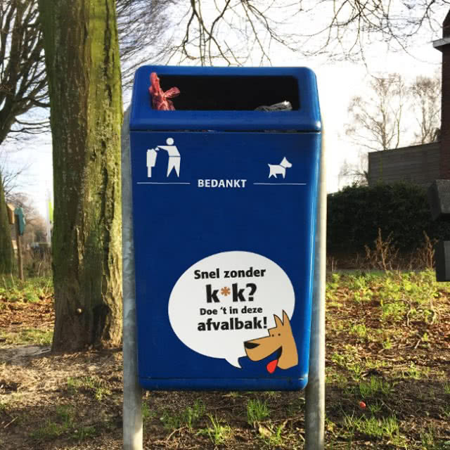 Hondenpoep campagne afvalbak sticker