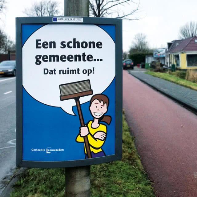 Een schone gemeente campagne rondweg poster