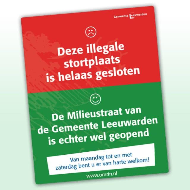Bord illegale vuilstort voor Gemeente Leeuwarden