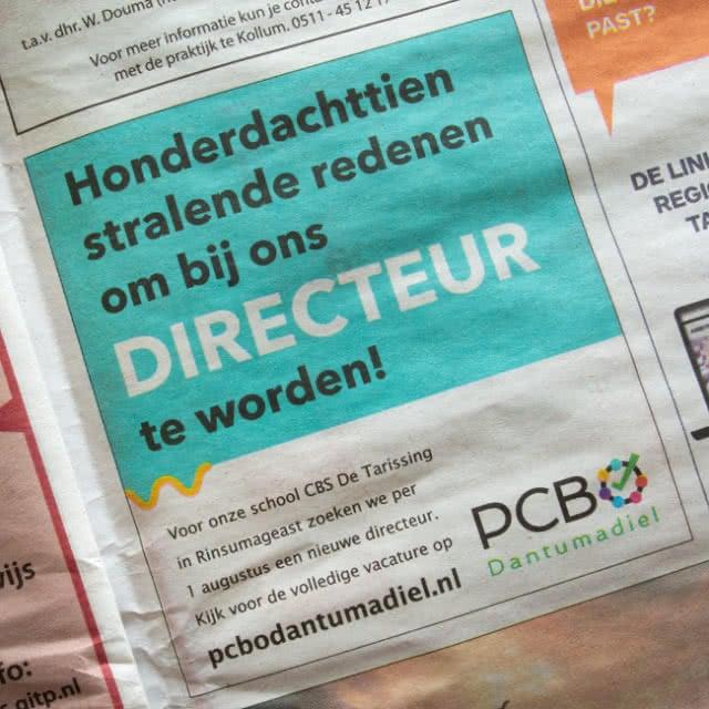 Krantenadvertentie PCBO Dantumadiel